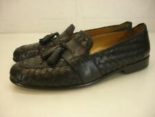 Cole Haan Men's 11 M Brady Black Woven Leather Tassel Loafer Shoes Slip-On Dress