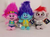 "Trolls World Tour Lot Of 3 Branch - Barb - Poppy Plush Dolls 10"" Stuffed Figures"