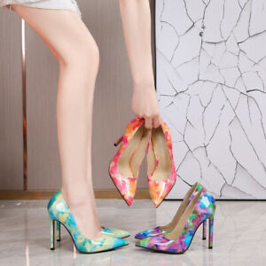 Women's Floral Print High Heels Pointed Toe Pumps Sandals Slip On Shoes Clubwear