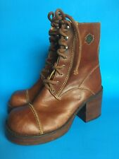 Vintage Chunky Harley Davidson Brown Leather Lace Up Boots Sz 7 Women's #84241