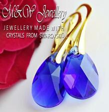 Gold Plated Silver Earrings 16mm PEAR - Majestic Blue Crystals From Swarovski®