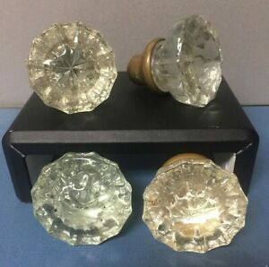 Set of 4 Antique Door Knob Clear Glass House Hardware Brass Vintage