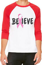 New Unisex Believe Pink Breast Cancer Ribbon B1068 White/Red C5 Baseball T Shirt