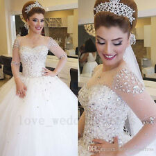 Luxury Crystals Beaded Ball Gown Wedding Dress Illusion Long Sleeves Bridal Gown