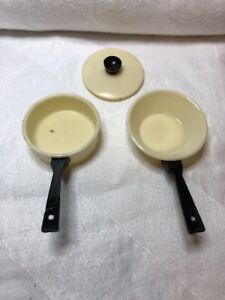 Vintage Barbie Size Miniature Cooking Pans Made In Hong Kong