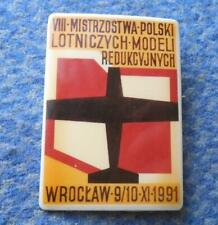 VIII th POLAND CHAMPIONSHIPS CONTROL LINE MODEL FLYING AIRPLANE 1991 PIN BADGE