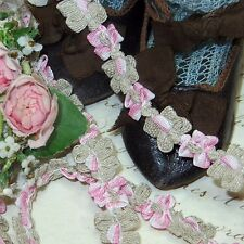 "18""  VTG FRENCH ROCOCO TRIM PINK TAUPE BOW ROSETTE DOLL DRESS FLOWER RIBBON ANTQ"