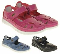 Womens Wide Fit EEE Leather Mary Jane Shoes Ladies Summer Sandals Size 4 5 6 7 8