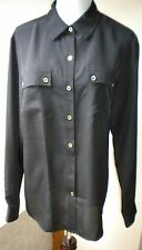 Jones N Y Solid Black C-Casual 100% Polyester L-Sleeve Button Down Shirt. Sz 10.