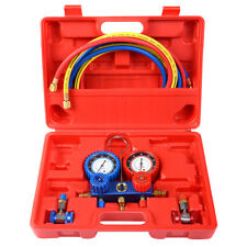 R134A Manifold Gauge Set AC A/C 6FT Colored Hose Air Conditioner w/ Case Red New