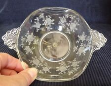 """Vtg Tiffin Cherokee Rose Etched Glass crimped 7"""" bowL with handles"""