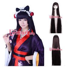 Inu x Boku SS Shirakiin Ririchiyo Long purple black Hair Cosplay Wigs USA Ship