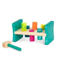 Pastel Colors 3 Wooden Toys Bundle Complete Set WALIKI Pounding Bench with Hammer Rainbow Stacker Wood Shape Sorter Box