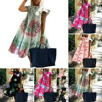 Casual Women Summer O Neck Short Sleeve Floral Print Large Hem A Line Dress