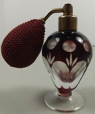 Small Vintage Deep Ruby Cut To Clear Glass Perfume Bottle Atomizer W/ Bulb
