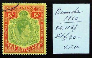 BERMUDA 1950 G.VI - 5/- SG118f Fine/Used As Described NS815