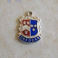 Cheddar England Silver Enamel Travel Shield Bracelet Charm Vintage