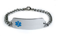 Medical Alert ID Bracelet with curb chain (5 mm). Free medical wallet Card!