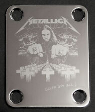 Engraved Photo Etched GUITAR NECK PLATE - METALLICA Bass CLIFF BURTON - Chrome