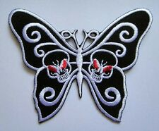 SKULLS BUTTERFLY GOTHIC PUNK ROCK Embroidered Iron on Patch Free Shipping
