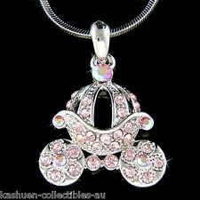 Pink w Swarovski Crystal ~Cinderella Pumpkin Carriage~ Princess Pendant Necklace