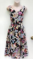 JUMP Stunning Black wtih Colourful Flowers Cotton Summer Dress w Belt sz 8