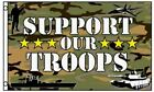 SUPPORT OUR TROOPS Flag Camo Camouflage Military Banner 3 x 5 Foot Flag- New