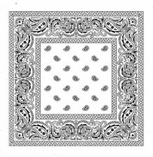 PAISLEY BANDANA 100% Cotton Scarf Headband WHITE NEW