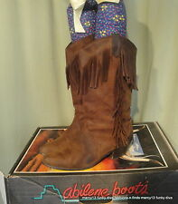 Vintage 80's Fringed Worn Brown Leather Cowboy Cowgirl Western Boots Size 9