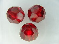 5 PERLES RONDES FACETTE 14mm SYNTHETIQUE RUBIS         A592