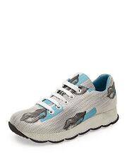 New $790 Prada Lips-Print White/Blue Leather Sneaker Women 38.5/8.5