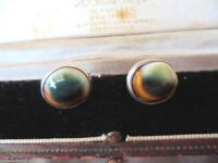 ANTIQUE VINTAGE STERLING SILVER EARRINGS CAT'S EYE OPERCULUM SHELL EAR RINGS