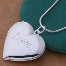 Fashion 1PC Sterling Silver Plated Heart LOCKET Photo Charm Pendant Necklace