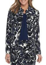 KASPER® 16 Indigo Multi Abstract Print Scuba Crepe Jacket NWT $119