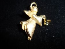 Pin Brooch Christmas Angel Holiday Bell Gold Tone Vintage Antique Estate Shiny