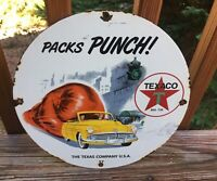"Vintage Texaco Gasonline Packs Punch Heavy Porcelain Sign 12"" Gas & Oil Sign"
