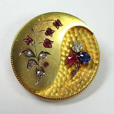 838 - Antike Brosche Gelbgold 750 Diamanten Rubine Saphir --- 1665/480-