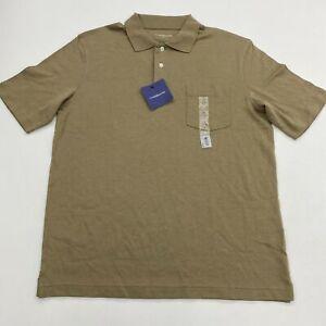 NWT Croft & Barrow Polo Shirt Mens M Brown Short Sleeve 1005 Cotton Casual Polo