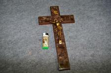 Vintage 19thC french ANTIQUE CRUCIFIX Religious Christ Cross with inlay brass