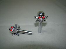skull head cross bones door lock pull knob stem button skeleton head lock knob