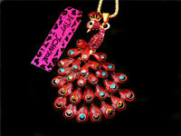 Betsey Johnson Rhinestone Red Cute Peacock Pendant Chain Sweater Necklace