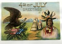 Vintage 1910's 4th of July Greetings Postcard w/ Eagle and Indian