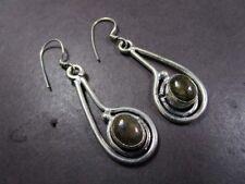 gypsy Fashion Tribal Dangle Earrings E2466 Tibetan Labradorite stone White Metal