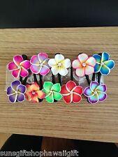 NEW Hawaiian 10 pc lot fimo Plumeria Flower Baby Mini Hair Clip Buy 3 Get 1 Free