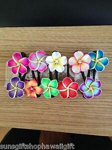 NEW Hawaiian 10 pc lot fimo Plumeria Flower Baby Mini Hair Clip Hawaii