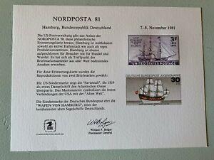 US Stamps SC# SC74 Souvenir Card NORDPOSTA 81 MNH 1981