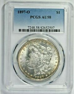1897-O $1 Morgan Silver Dollar PCGS AU58 (1106-12) 99c NO RESERVE  Witter Coin