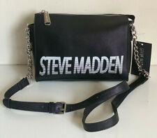 NEW! STEVE MADDEN BLEXI LOGO BLACK WHITE CROSSBODY SLING BAG PURSE SALE