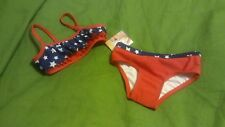 infant baby girls OP two piece swim suit size 18 months red white blue July 4th