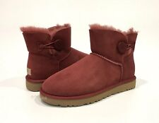 UGG MINI BAILEY BUTTON II BOOTS REDWOOD RED SHEEPSKIN -US SIZE 10 -NEW